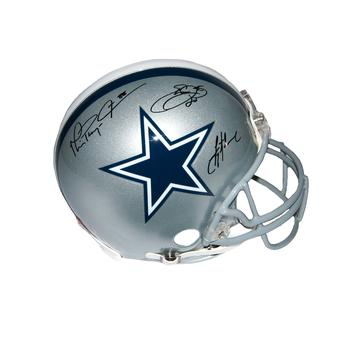 "Emmitt Smith / Troy Aikman / Michael Irvin Autographed Dallas Cowboys ""Triplets"" Full Size Proline Helmet (GTS"