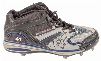 Carlos Santana Autographed Cleveland Indians One Game Used Baseball Cleat