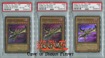 Yu-Gi-Oh Blue Eyes White Dragon 1st Ed Single Curse of Dragon PSA GRADED PLAYSET