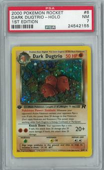 Pokemon Team Rocket 1st edition Dark Dugtrio 6/82 Holo Rare PSA 7