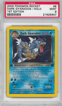 Pokemon Team Rocket 1st Edition Single Dark Gyarados 8/82 - PSA 9