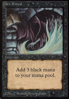 Magic the Gathering Alpha Single Dark Ritual - MODERATE PLAY (MP)