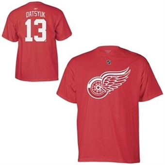 Pavel Datsyuk Detroit Red Wings Red Reebok T-Shirt (Size Medium)