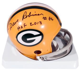 Dave Robinson Autographed Green Bay Packers Football Mini Helmet Leaf