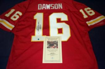 "Len Dawson Autographed Kansas City Chiefs Red Football Jersey ""SB IV MVP"""