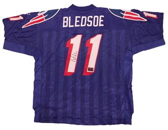 Drew Bledsoe Autographed New England Patriots Authentic Starter Jersey Mounted Memories