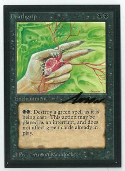 Magic the Gathering Beta Artist Proof Deathgrip - SIGNED BY ANSON MADDOCKS