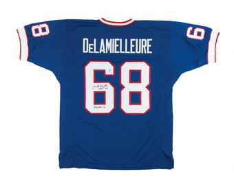 Joe DeLamielleure Autographed Buffalo Bills Blue Football Jersey Electric Company