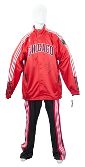 "Derrick Rose Autographed Team Issued Chicago Bulls Warmups ""MVP 11"" Inscription (PSA)"
