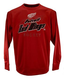 Detroit Red Wings Majestic Red Slashing Performance Synthetic Fleece Sweatshirt