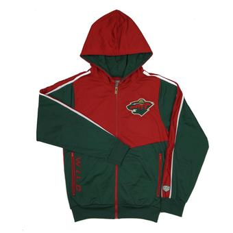 Minnesota Wild Old Time Hockey Chaser Red & Green Full Zip Hoodie (Adult M)