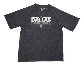 Dallas Mavericks Adidas Grey Climalite Performance Tee Shirt (Adult M)