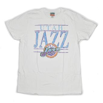 Utah Jazz Junk Food White Distressed Name & Logo Tee Shirt
