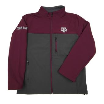 Texas A&M Aggies Colosseum Maroon & Grey Yukon II Full Softshell Zip Jacket (Adult L)