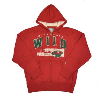 Minnesota Wild Old Time Hockey Sumner Red Full Zip Hoodie (Adult XL)