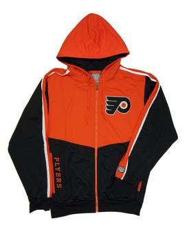 Philadelphia Flyers Old Time Hockey Chaser Orange & Black Full Zip Fleece Hoodie (Adult M)