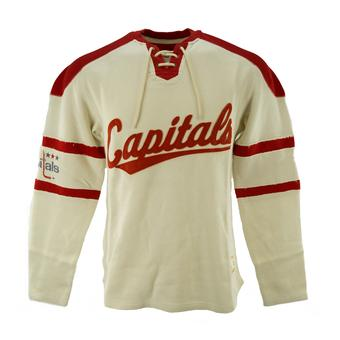 Washington Capitals CCM Reebok Beige Lace Up Long Sleeve Fleece Crew (Adult M)