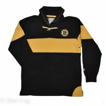Boston Bruins Old Time Hockey Jerry Black & Gold Toggle Long Sleeve Crew (Adult XL)