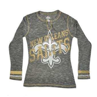 New Orleans Saints Majestic Grey Gametime Gal V-Neck Long Sleeve Shirt (Womens S)