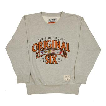 NHL Original 6 Logo Old Time Hockey Milo Grey Crew Neck Fleece Sweatshirt (Adult S)