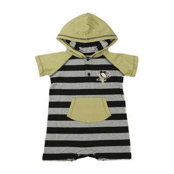 Pittsburgh Penguins Old Time Hockey Tickle Stripe Black Infant S/S Hoodie (Infant 12M)