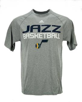 Utah Jazz Adidas Grey Climalite Performance Tee Shirt (Adult M)