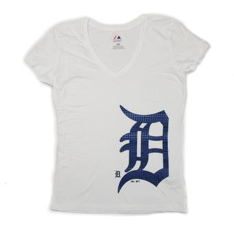 Detroit Tigers Majestic White Surefire Victory Tee Shirt (Womens L)