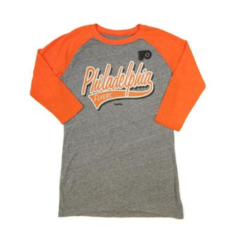 Philadelphia Flyers Reebok Orange Tri-Blend Long Sleeve Tee Shirt (Womens L)