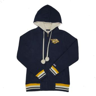 Nashville Predators Reebok CCM Navy Full Zip Microfleece Hoodie (Womens M)