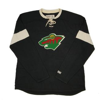 Minnesota Wild CCM Reebok Black Lace Up Long Sleeve Fleece Crew (Adult L)