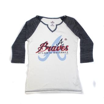 Atlanta Braves Majestic Navy & White Victory Is Sweet 3/4 Sleeve Tee Shirt (Womens L)