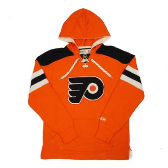 Philadelphia Flyers CCM Reebok Orange Lace Up Fleece Jersey Hoodie (Adult L)