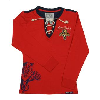 Florida Panthers Old Time Hockey Red Rachel Womens L/S Jersey T-Shirt (Womens M)