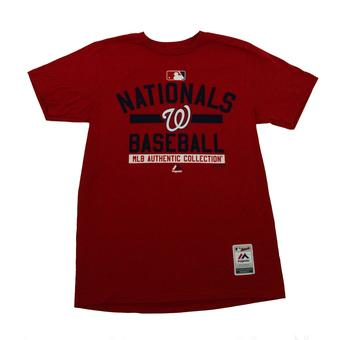 Washington Nationals Majestic Heather Red Property Tee Shirt (Adult L)