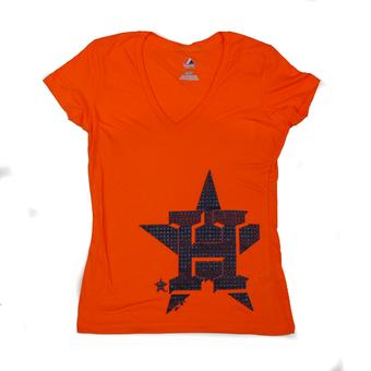 Houston Astros Majestic Orange Surefire Victory Tee Shirt (Womens L)