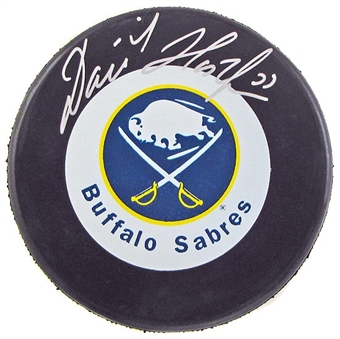 Dominik Hasek Autographed Buffalo Sabres Throwback Hockey Puck