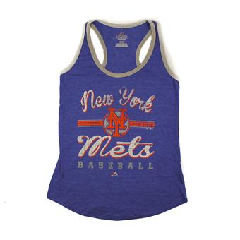 New York Mets Majestic Blue Authentic Tradition Tank Top (Womens M)