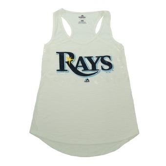 Tampa Bay Rays Majestic White Baseball Dreamer Sequin Tank Top (Womens XL)