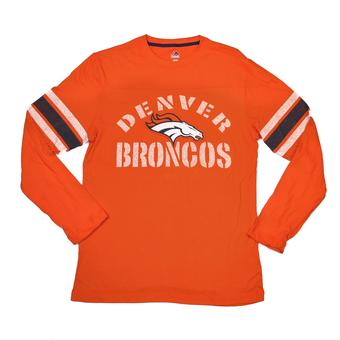 Denver Broncos Majestic Orange Corner Blitz Long Sleeve Tee Shirt (Adult M)