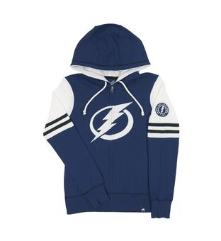 Tampa Bay Lightning Majestic Turnbuckle Blue Zip Up Hoodie (Womens Medium)