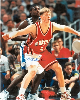 Michael Doleac Autographed University of Utah 8x10 Photo (Press Pass)
