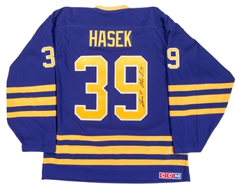 Dominik Hasek Autographed Buffalo Sabres Throwback Blue Hockey Jersey