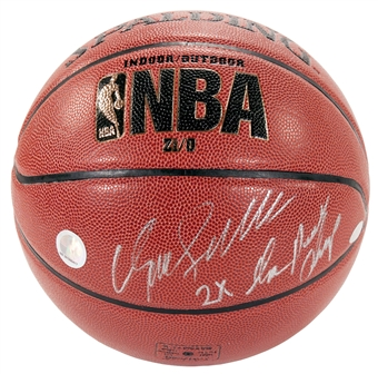 "Dominique Wilkins Autographed Spalding Basketball w/""2X Dunk Champ"" Inscription (Steiner)"