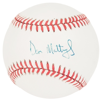 Don Mattingly Autographed New York Yankees Rawlings American League Baseball (JSA)