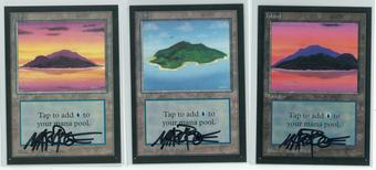 Magic the Gathering Beta Artist Proof Island - SET OF ALL THREE, ALL SIGNED BY MARK POOLE
