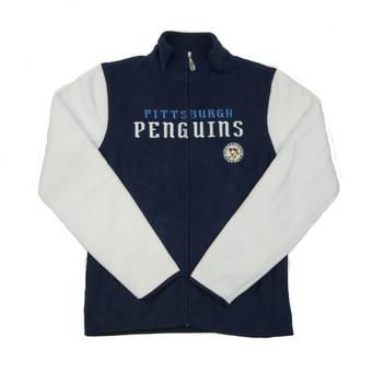 Pittsburgh Penguins Reebok Navy Full Zip Microfleece Jacket (Womens M)