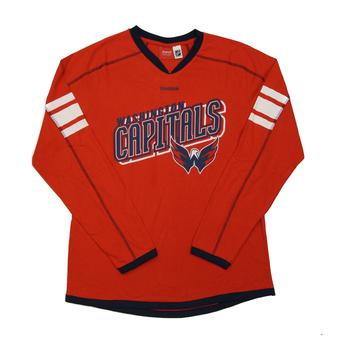 Washington Capitals Reebok Red Team Jersey Long Sleeve Tee Shirt (Womens XXL)