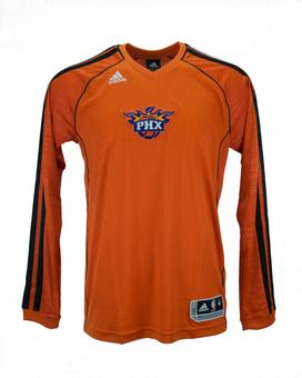 Phoenix Suns Adidas Orange On Court Shooter Long Sleeve Performance Tee Shirt (Adult S)