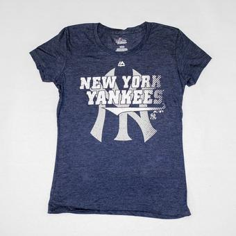 New York Yankees Majestic Navy Take That Tee Shirt (Womens XL)
