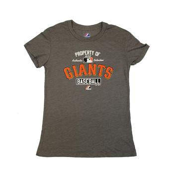 San Francisco Giants Majestic Gray Property Of Tee Shirt (Womens L)